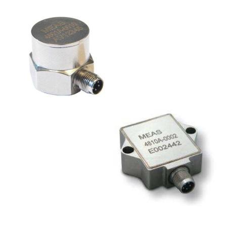 Acelerómetro uniaxial en acero inoxidable IP67 con salida amplificada.