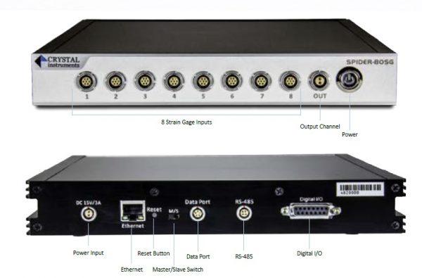 Módulo DAQ Ethernet para adquisición de señales procedentes de sensores extensométricos, piezoeléctricos, etc. 8 canales de entrada y 1 digital de salida.
