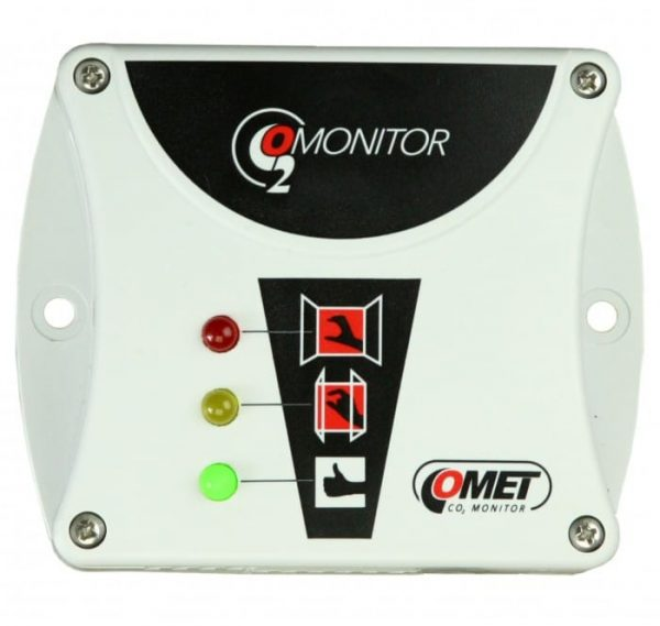 Indicador de calidad de aire por nivel de CO2 mediante semáforo led. Montaje e instalación sencillos con alimentación a 220Vac.