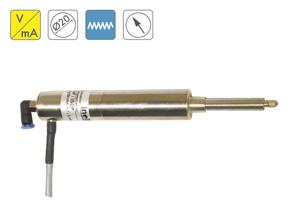 Palpador neumático operado por aire con salida amplificada en corriente o voltaje. Diámetro estándar de 20mm para rangos hasta 50mm con alta IP. Salida cable o conector.