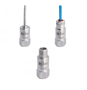 Acelerómetro industrial uniaxial con salida superior en conector o cable. Sensibilidad desde 10 a 500mV/g, con ancho de banda desde 24 a 36kHz. Protección IP68.