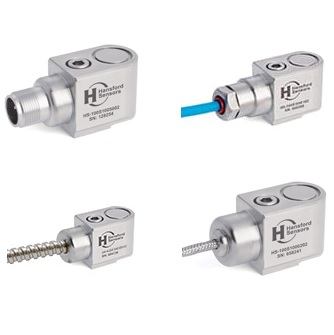 Sensor de vibración en velocidad con salida 4-20mA. Rangos disponibles de 10, 20, 25, 50 y 100mm/s. Salida cable y conector con protección IP68.