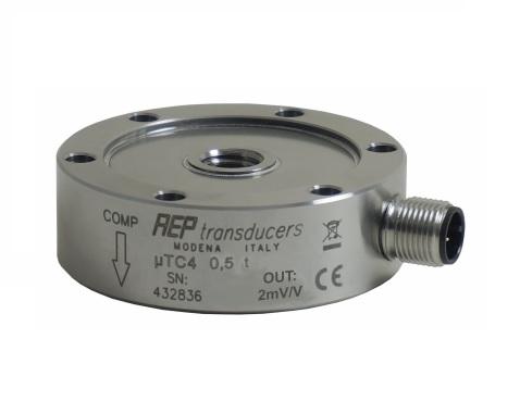Sensor de fuerza pancake pequeño tamaño con salida extensométrica de 2mV/V o amplificada +/-10V. Precisión 0.1%. Encapsulado robusto en acero inox. IP67.